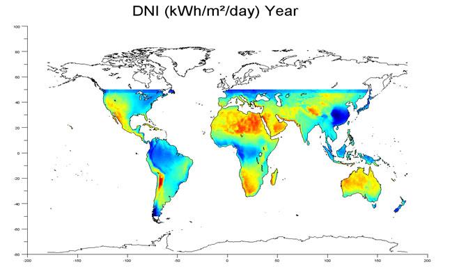 5. Cartographies au niveau mondial pour comparaison des technologies PV-CSP-CPV
