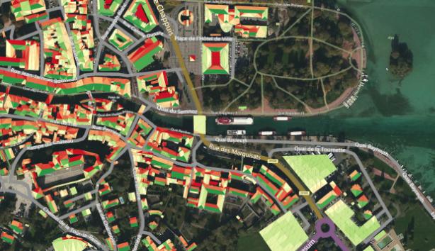 03. Cadastre solaire + Cadastre vert (toitures végétalisées) sur le périmètre de la Ville